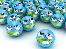 stock photo of smiley face  - 3D Round Smiley Faces - JPG