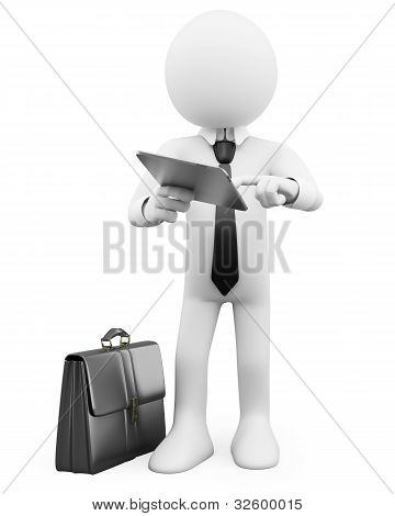 3D Businessman - Working With A Tablet