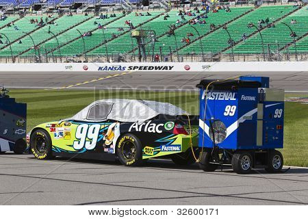 KANSAS CITY, KS - APRIL 22:  The NASCAR Sprint Cup teams take to the track for the STP 400 at the Kansas Speedway in Kansas City, KS on April 22, 2012.