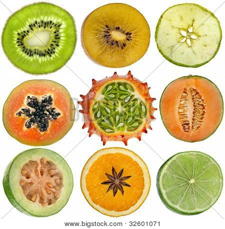 collection of halves fruits kiwi, apple, papaya, kiwano, cantaloupe melon, guava, orange, lime  isolated on white