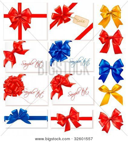 Big collection of color gift bows with ribbons. Vector.