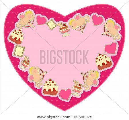 Postcard In The Shape Of Heart For Valentine's Day