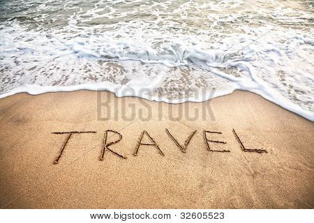 Travel Word On The Beach