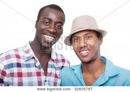 Two young black men over isolated white background.