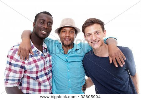 Three young friends happy - isolated over pure white background.