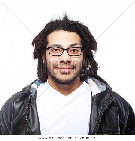 Young man with rasta hair over white background. Isolated Image.