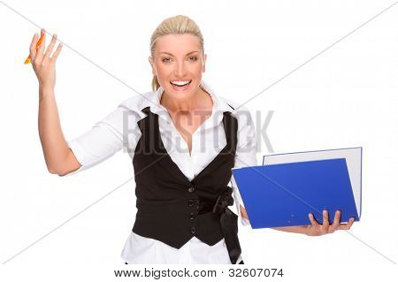 Full isolated portrait of a caucasian businesswoman with folder