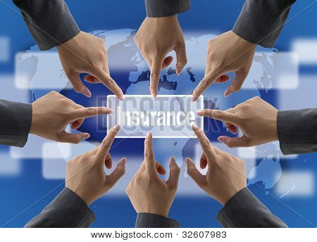 A diverse business teamwork do World Insurance for Risk Management Concept