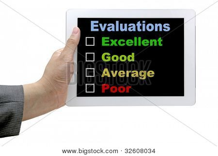 Business  Hand Hold Technology Tablet With Performance Evaluation Audit Checklist