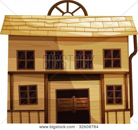 Illustration of an isolated building from the Wild West