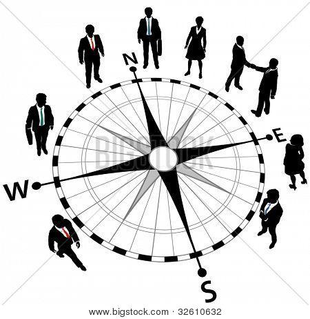 Empresarios en compás apuntando en direcciones de estrategia
