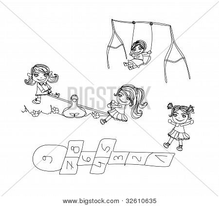 Little kids play on the playground - doodles set