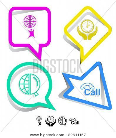 Business icon set. Little man with globe, globe and magnifying glass, clock in hands, hotline.  Paper stickers. Vector illustration.