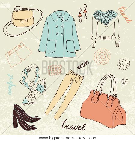 Travel Fashion. Fashion background with a summer dress, shoes, bag and accessories