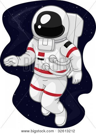Illustration of an Austronaut Drifting in Space