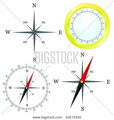 Compass In Parts Vector Illustration