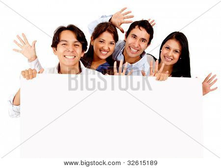 Fun group of friends holding a banner - isolated over a white background