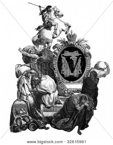 "Luxurious Victorian initials letter V, after an engraving by Gustav Dore, ""Jesus, banishing merchants from the temple"", edition of the ""Holy Bible"",Russian Empire, circa 1866."