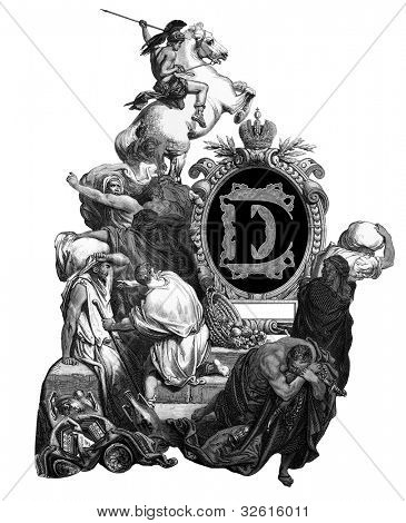 "Luxurious Victorian initials letter D, after an engraving by Gustav Dore, ""Jesus, banishing merchants from the temple"", edition of the ""Holy Bible"",Russian Empire, circa 1866."
