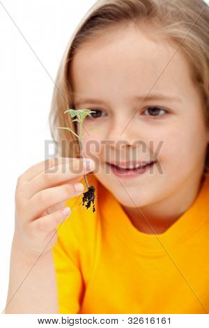 Little girl observing the miracle of life - holding a spring seedling, isolated