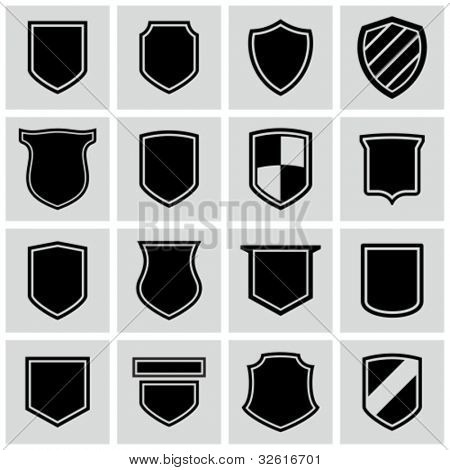 Shield frames icons set.