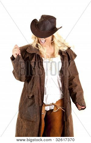 Cowgirl Duster Look Down Excited