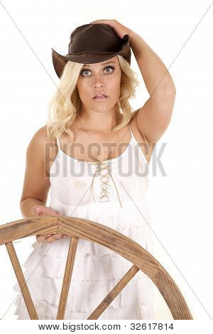 Cowgirl Wagon Wheel Looking