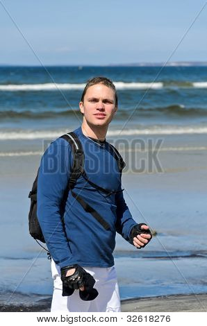 Handsome Male Tourist Lost His Way Near The Ocean
