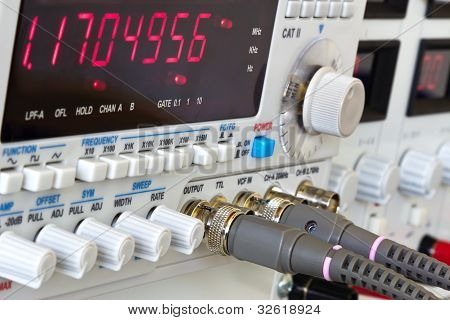 Buttons And Coaxial Connectors Of Laboratory Function Generator With Frequency Counter