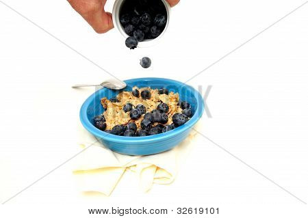 Cereal And Fresh Blueberries