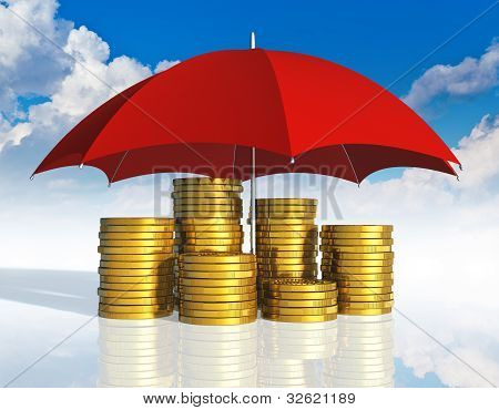 Financial stability, business success and insurance concept