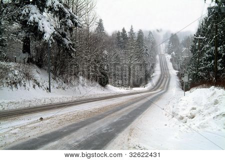 Snow On The Hilly Road