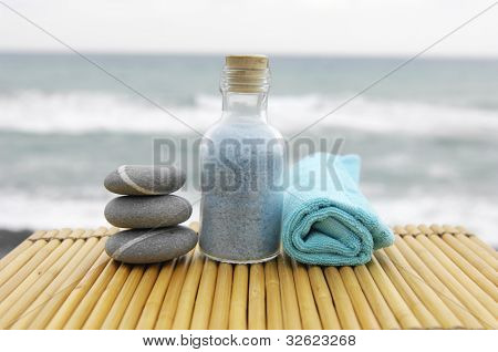 Zen concept �¢�?�?stacked Stones and salt in a glass