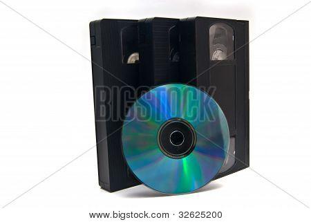 three vhs & disk