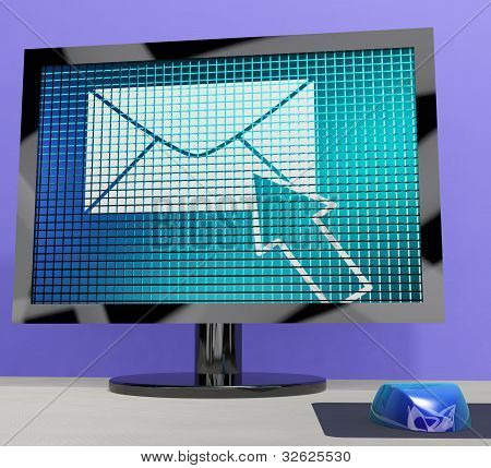 Email Icon On Screen Showing Emailing Or Contacting
