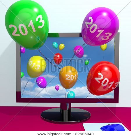 2013 Balloons From Computer Representing Year Two Thousand And Thirteen Greeting Online