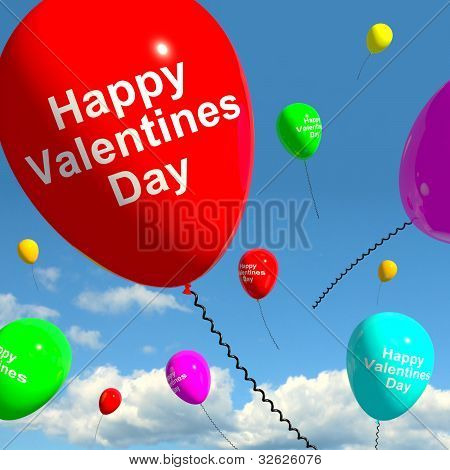 Happy Valentines Day Balloons In The Sky Showing Love And Affections