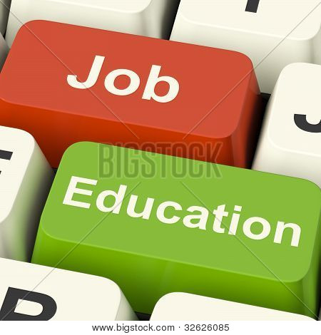 Job And Education Computer Keys Showing Choice Of Working Or Studying
