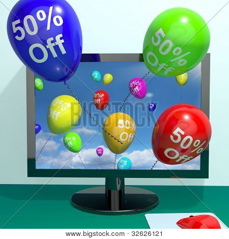 50% Off Balloons From Computer Showing Sale Discount Of Fifty Percent Online