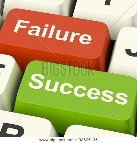 Success And Failure Computer Keys Showing Succeeding Or Failing