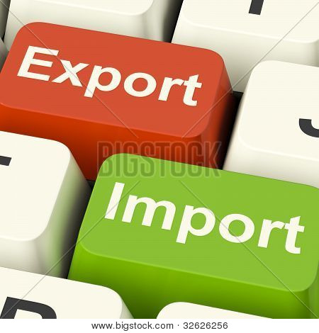 Export And Import Keys Showing International Trade Or Global Commerce