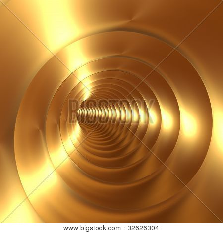 Gold Vortex Abstract Background With Twirling Twisting Spiral