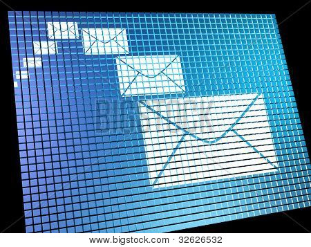 Email Envelopes Being Received On Computer Screen Showing Emaili