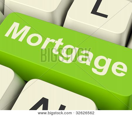 Mortgage Computer Key Showing Online Credit Or Borrowing