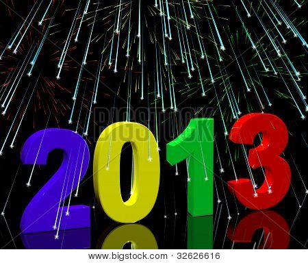 2013 With Fireworks Representing Year Two Thousand And Thirteen