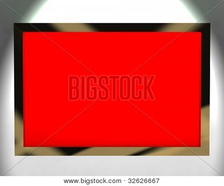TV Monitor With Red Blank Copyspace Or Copy Space