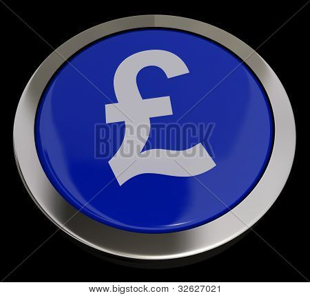Pound Symbol Button In Blue Showing Money And Investment