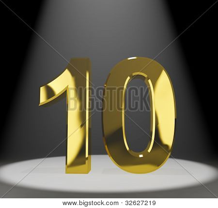 Gold 10th 3d Number Closeup Shows Anniversary Or Birthday