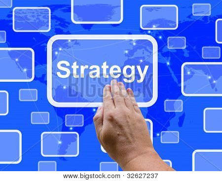 Strategy Button Showing Planning And Vision To Achieve Goals