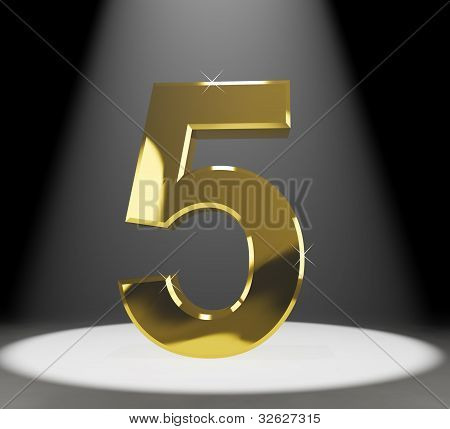 Gold Five Or 5 3d Number Closeup Representing Anniversary Or Birthdays